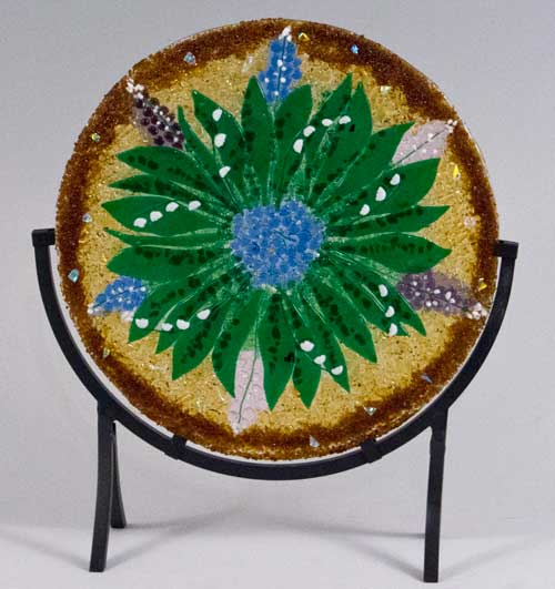 Fused glass mandala by linda oeffling